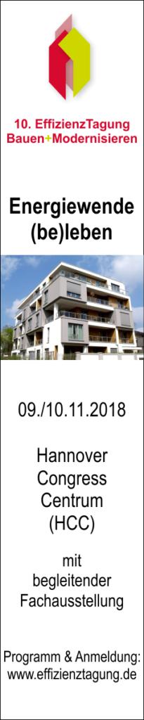 EffizienzTagung Bauen+Modernisieren am 9. und 10. November 2018 in Hannover, Congress Centrum (HCC)