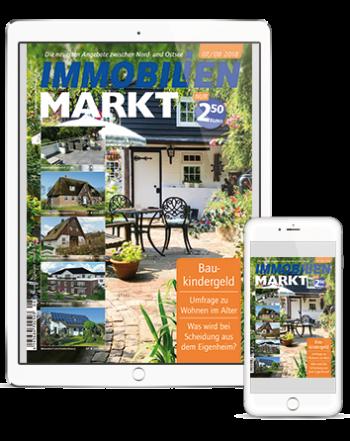 Smartphone und Tablet mit Titelseite des IMMOBILIENMARKT